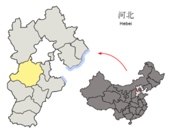 Location of Baoding City jurisdiction in Hebei