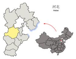 Placering af Baoding City jurisdiktion i Hebei
