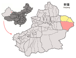 Location of Yizhou (red) in Hami (yellow) and Xinjiang