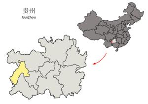 Liupanshui - Image: Location of Liupanshui Prefecture within Guizhou (China)