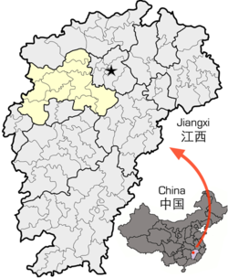 Location of Yichun City jurisdiction in Jiangxi