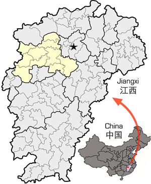 Yichun, Jiangxi - Image: Location of Yichun within Jiangxi