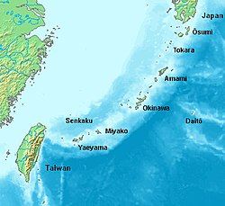 Location of the Ryukyu Islands in Japan