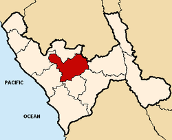 Location of Otuzco in the La Libertad Region