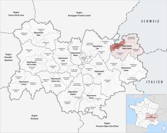 Arrondissement of Saint-Julien-en-Genevois - Image: Locator map of Arrondissement Saint Julien en Genevois