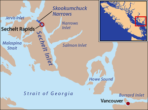 This is a locator map of Sechelt Inlet and Sko...