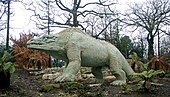 A Megalosaurus stalks Crystal Palace Park in London.