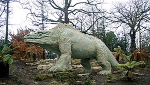 Cultural depictions of dinosaurs - A Megalosaurus stalks Crystal Palace Park in London.