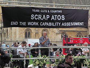Political positions of Jeremy Corbyn - Corbyn speaking at a demonstration to end the Atos Work Capability Assessment in September 2013