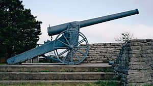 Long Tom (cannon) - Profile view of the 155 mm Creusot Long Tom replica in the Long Tom Pass, Mpumalanga. Made in 1985 to commemorate the use of these cannon during the Second Boer War.