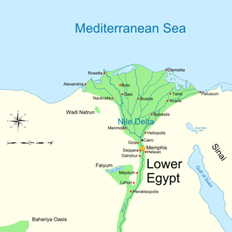 Heliopolis (ancient Egypt) - Map of ancient Lower Egypt showing Heliopolis