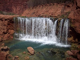 Havasu Creek - The second new waterfall, Lower Navajo Falls.