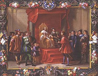 Luigi Primo - Guillermo Ramón Moncada visiting the King of Aragon possibly Charles