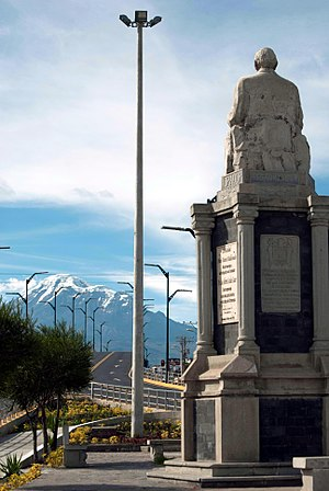 Luis Costales - Luis Alberto Costales Cazar's monument in Riobamba(Eddie Crespo), 2009. In the background mount Chimborazo.
