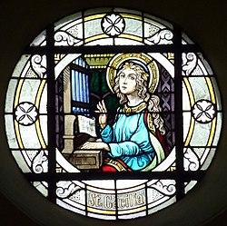 Sankta Cecilia ludas orgenon: vitralo en preĝejo St. Servatius und Dorothea en Müllenbach