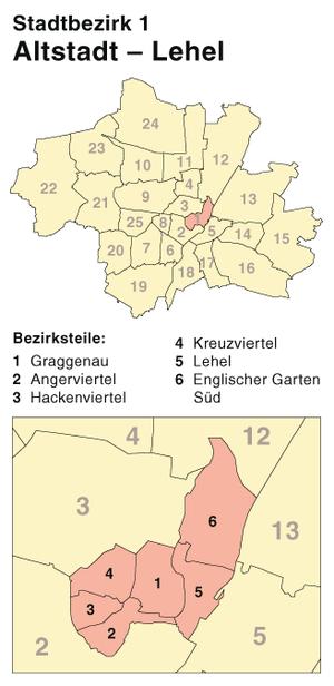 Altstadt-Lehel - Position of Altstadt-Lehel in Munich
