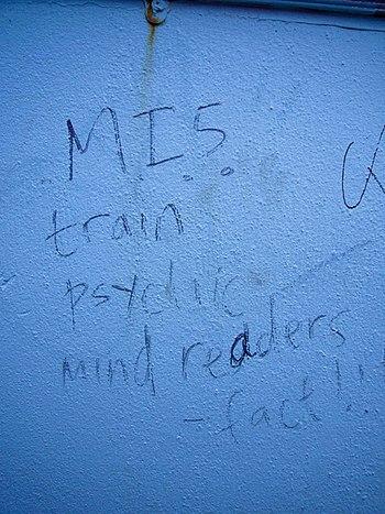 "English: Photo of graffiti: ""MI5 train ps..."