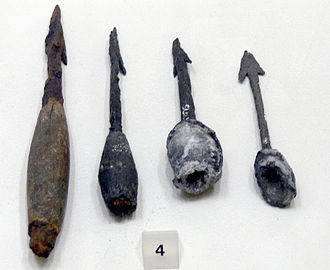 Plumbata - Four plumbatae heads from the 4th or 5th century AD, found in Enns, Austria. Wooden shafts not preserved