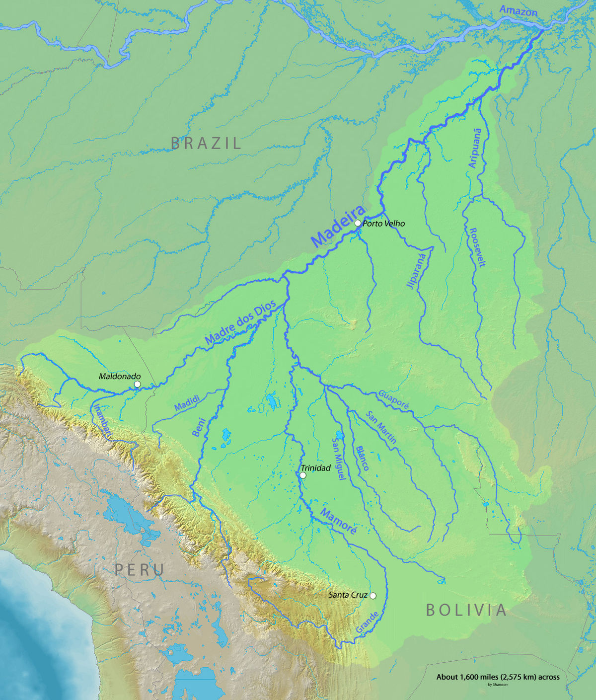Roosevelt River Wikipedia - Map of south america amazon river