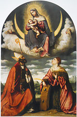 Madonna with child in glory with Saints Martin and Catherine