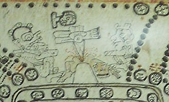 Human sacrifice in Maya culture - A section of page 76 of the Madrid Codex, depicting sacrifice by heart extraction