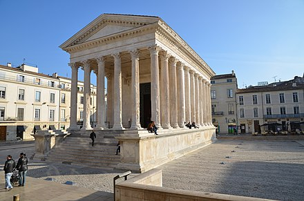 The Maison Carree was a temple of the Gallo-Roman city of Nemausus (present-day Nimes) and is one of the best-preserved vestiges of the Roman Empire. Maison carree (6).jpg