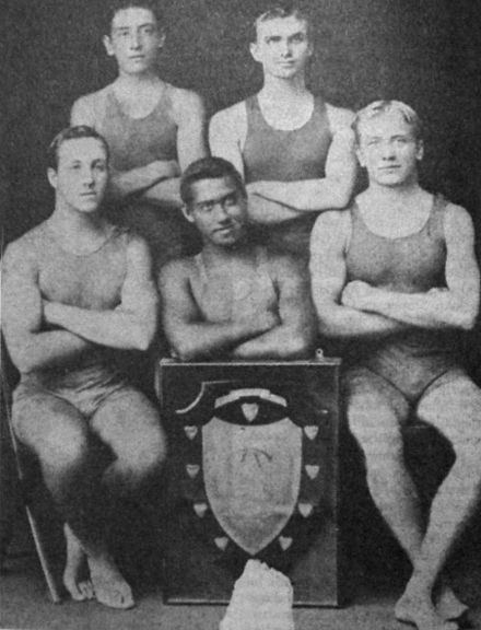 Lane, standing at right, with Manly Swimming Club teammates Manly sc.jpg