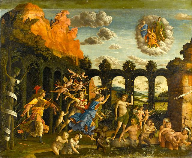 """Triumph of Virtues"" by Andrea Mantegna, at the Apartment of Isabella d'Este.Minerva (Athena) is shown expelling Vices from the Garden of Virtue and rescuing Diana (Artemis), shown being carried away by a centaur"