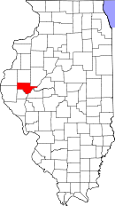 Map of Illinois highlighting Schuyler County