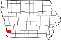Map of Iowa highlighting Mills County
