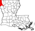 State map highlighting Caddo Parish
