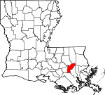 State map highlighting Saint John the Baptist Parish