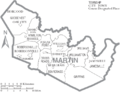 Map of Martin County North Carolina With Municipal and Township Labels.PNG