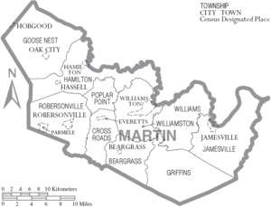Map of Martin County, North Carolina, United S...