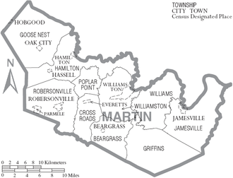 Martin County, North Carolina - Map of Martin County, North Carolina With Municipal and Township Labels