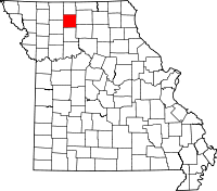 Map of Missouri highlighting Grundy County
