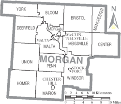 Map of Morgan County Ohio With Municipal and Township Labels.PNG