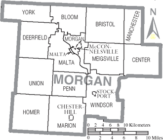 Morgan County, Ohio - Map of Morgan County, Ohio with municipal and township labels
