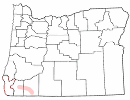 Map of Oregon highlighting Rogue Valley