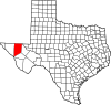 State map highlighting Culberson County
