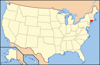 Map of the U.S. highlighting Connecticut