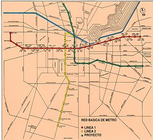 Santiago Metro - Projected metro network for 1987 according to the original plans.