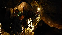 Tourists looking in different directions, while standing on an elevated wooden walkway surrounded by darkness in a cave.