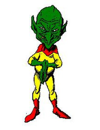 "Fermi paradox - An artist's depiction of the ""little green man"" described in the novel Martians, Go Home"