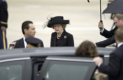 Thatcher arriving for the funeral of President Reagan in 2004 Margaret Thatcher DF-SD-06-15534.jpg