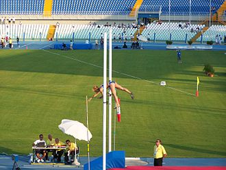 Athletics at the 2009 Mediterranean Games - Pole vault silver medallist Marianna Zachariadi clearing the bar in Pescara