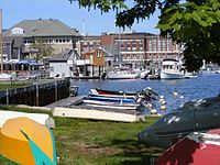 In this view of the Marine Biological Laboratory campus, the viewer stands behind rowboats resting on the grassy edge of the harbor. In the harbor, which lies in the midground, small white yachts and colorful speedboats are moored.