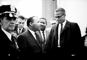 Martin Luther King and Malcolm X waiting for p...