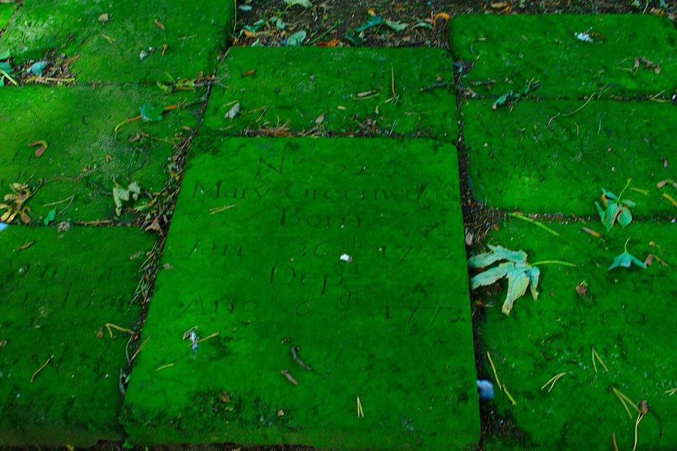 Mary Greenwood on gravestones born 1752