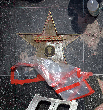 Actor Matt Damon's star under construction, August 2007 Matt Damon Star Under Construction.jpg